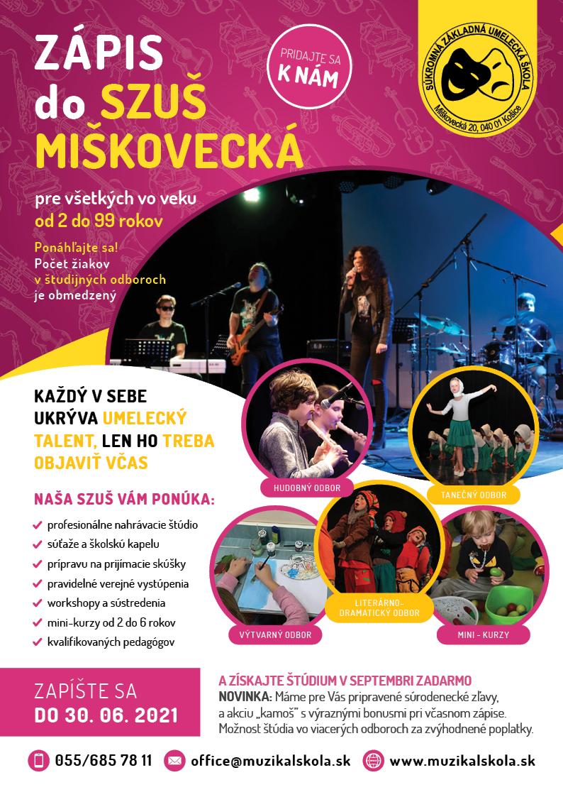 AKCIA do 31. Augusta 2020 na Zápis do súkromnej základnej umeleckej školy v Košiciach